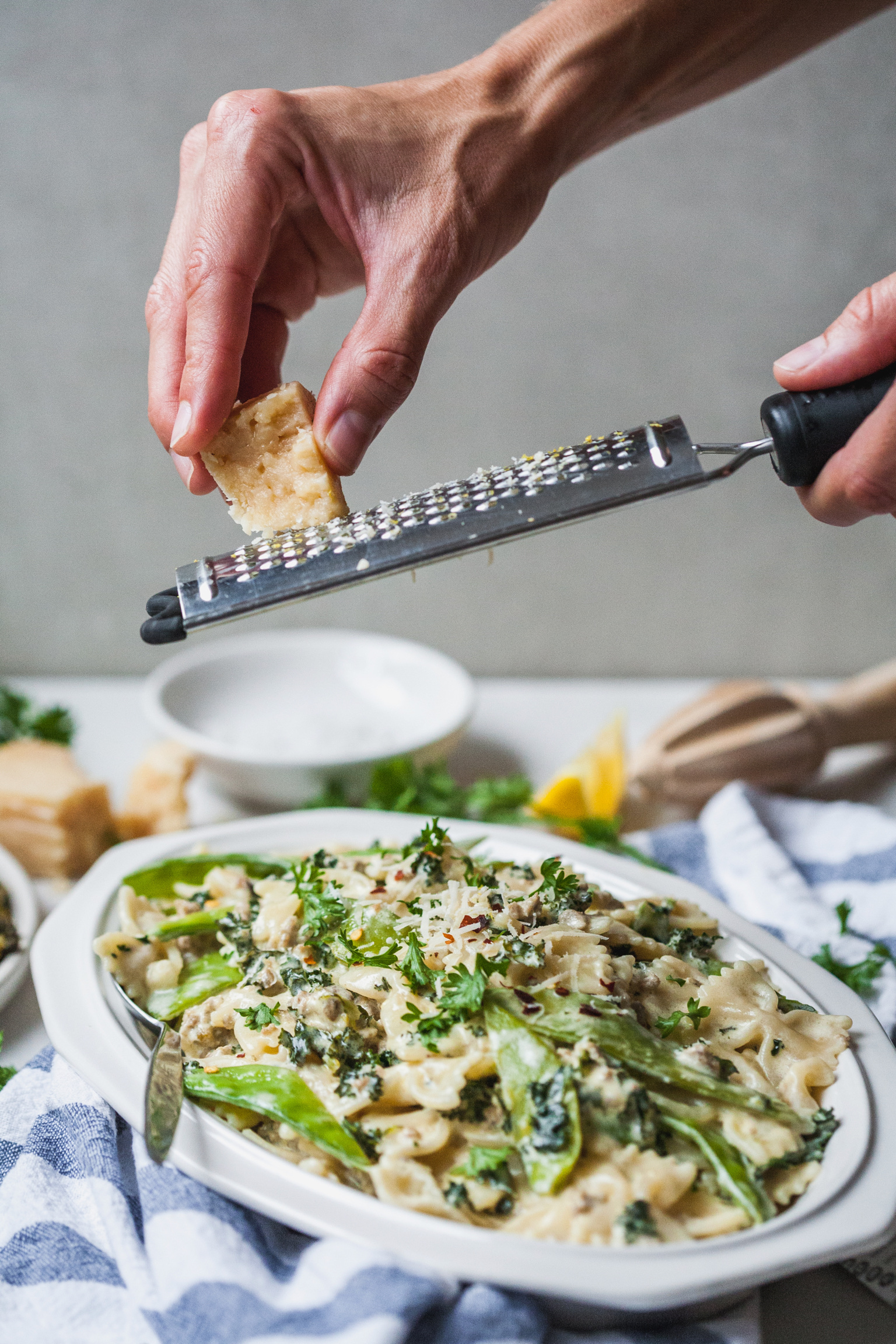 Creamy Sausage Kale And Snap Pea Farfalle