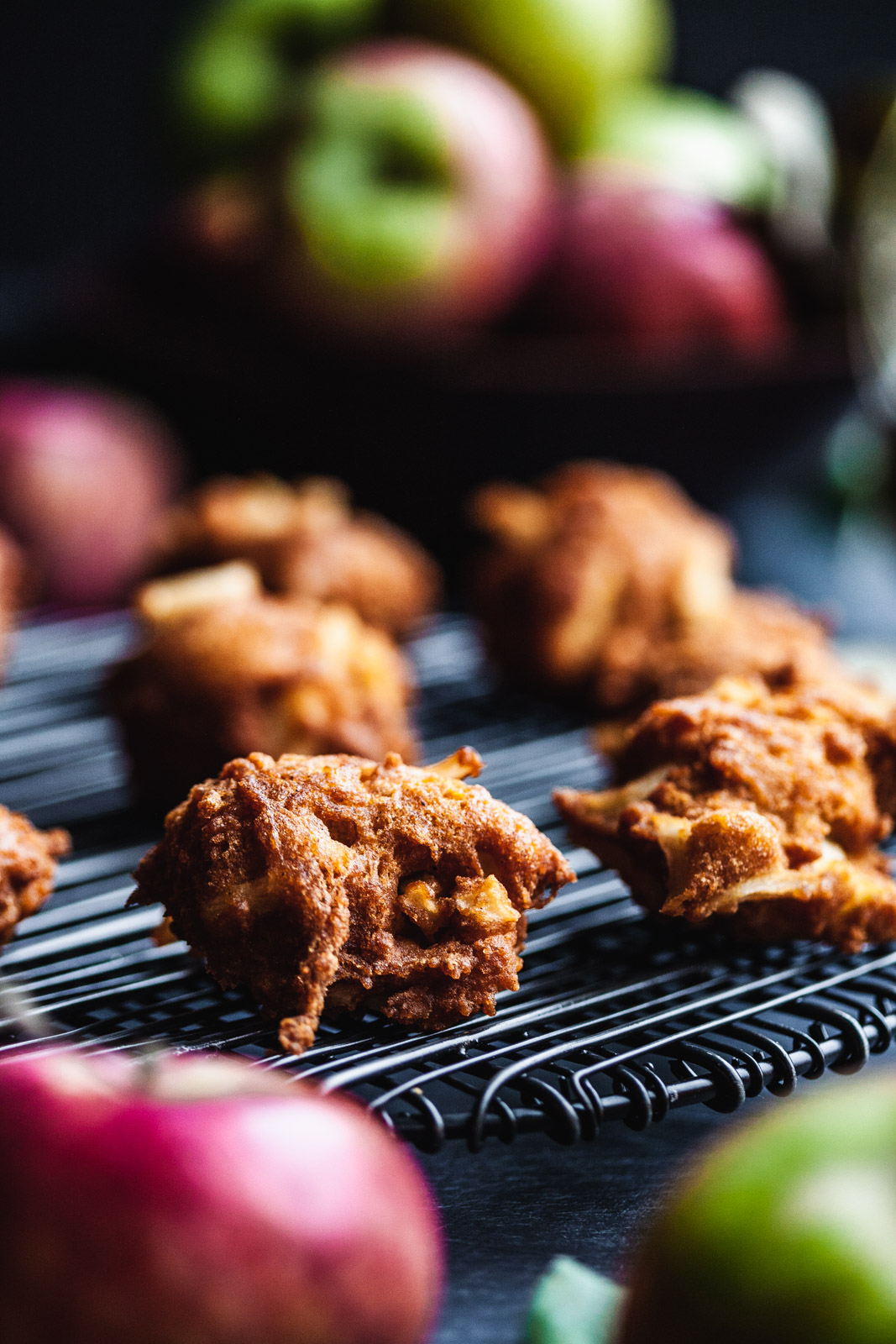 Chai Spiced Apple Cider Fritters With Maple Cider Glaze