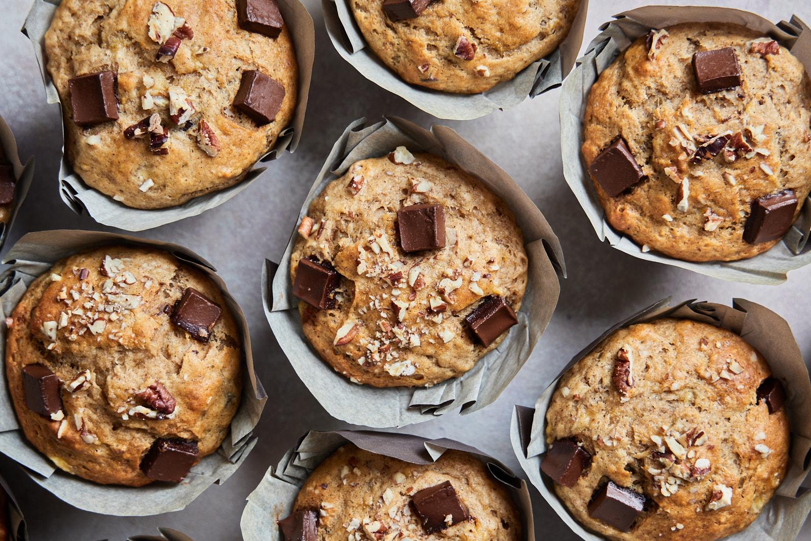 Bakery Style Banana Nut And Chocolate Chunk Muffins Olive Mango