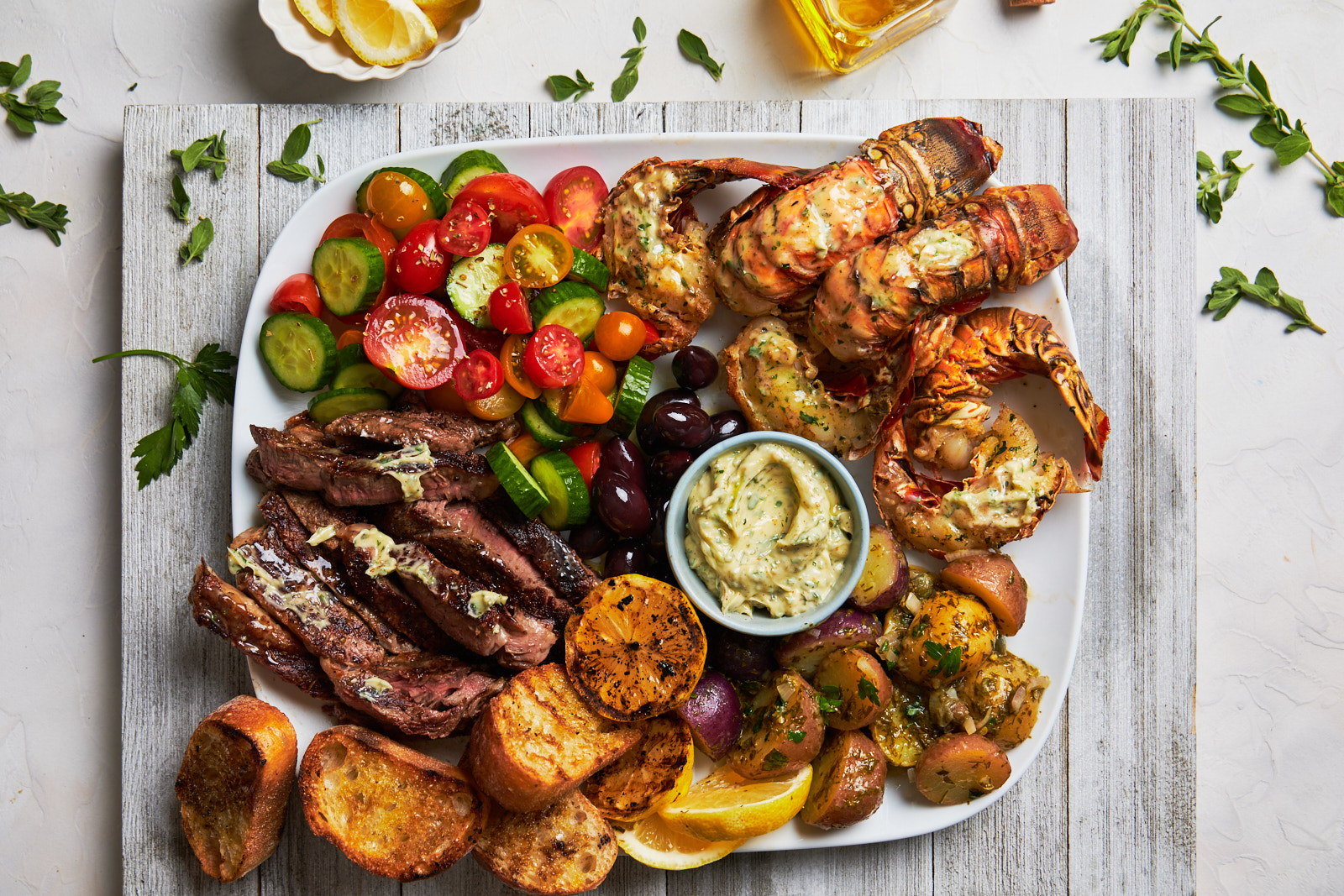 Grilled Lobster Tail and Steak Platter ...